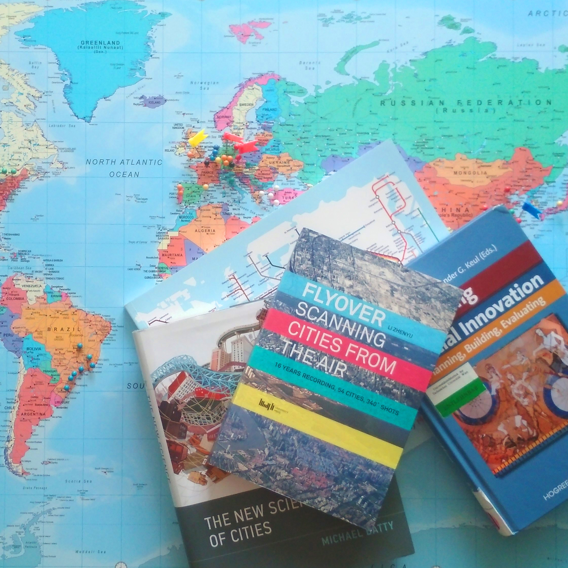 world map with books
