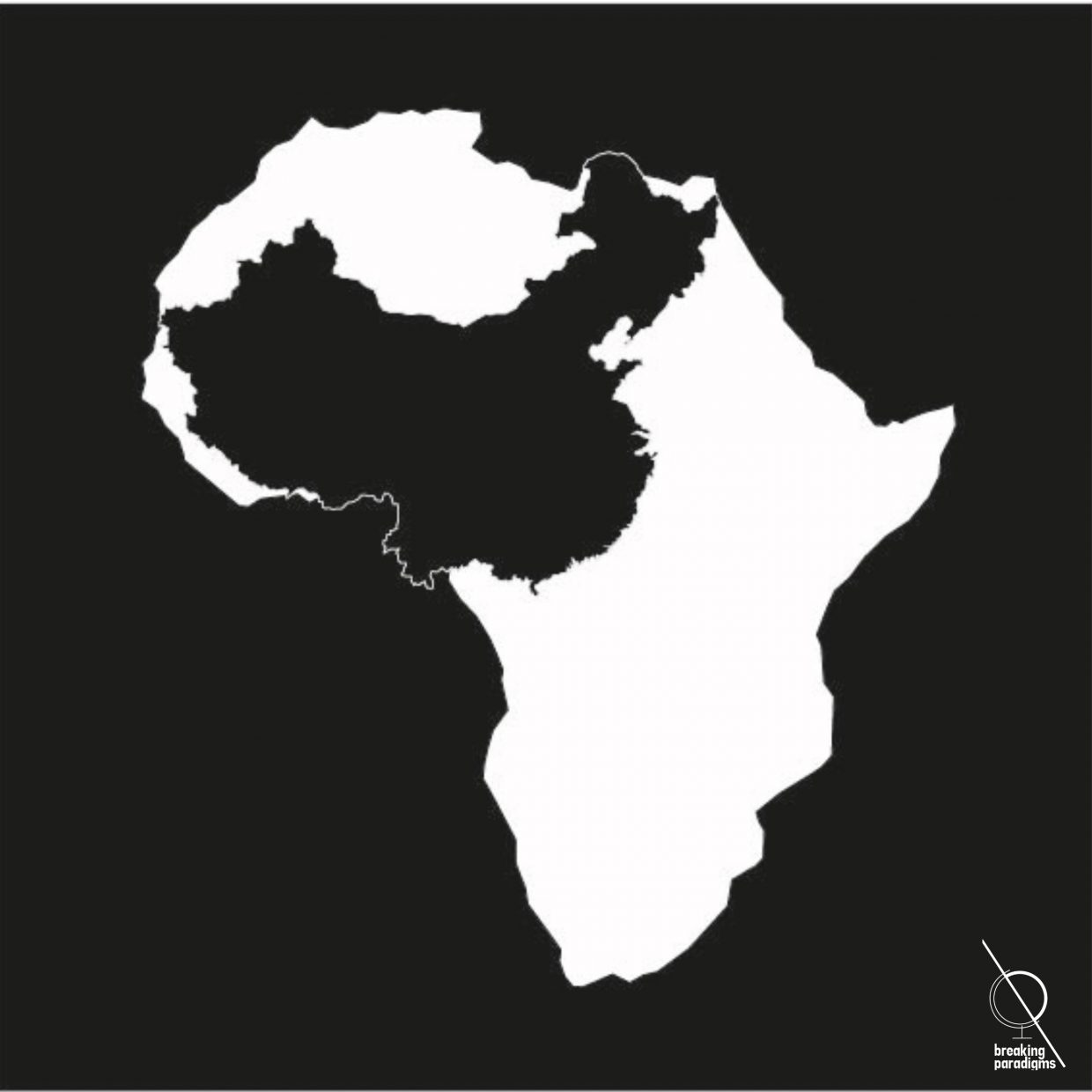 A white map of Africa on a black surface with a map of China within the African boarderlines in black