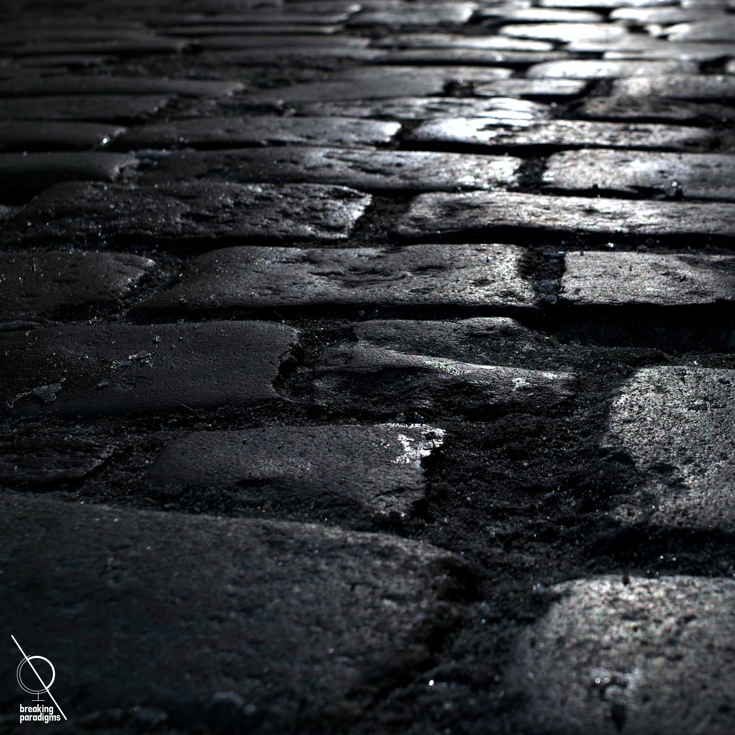 cobblestone road in the darkness