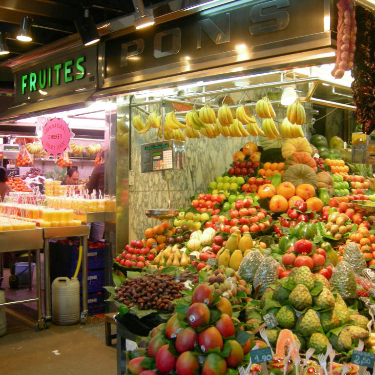 market stand with fruit in Barcelona